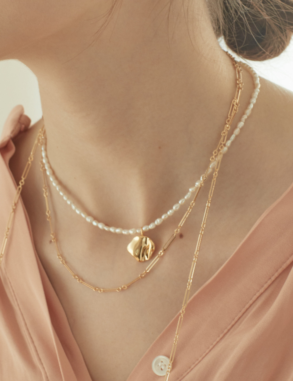 [Silver925] Gold moon Necklace