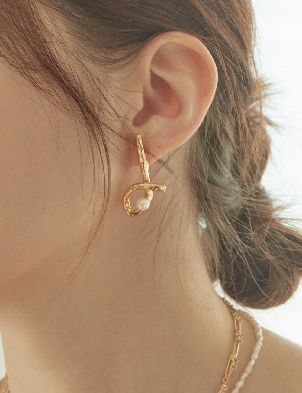[Silver925]Glossy curve Earring